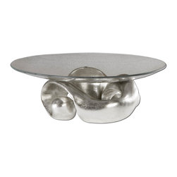 Uttermost - Uttermost Entwined Silver Leaf & Glass Bowl 19484 - Lightly champagned silver leaf with clear glass bowl.