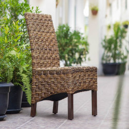 """International Caravan - International Caravan 'Manila' Woven Abaca / Rattan Wicker Dining Chair with Mah - Add a touch of elegant,exotic style to your furnishings with the """"Manila"""" chair. This chair features a 'Manila' hand-woven abaca/ rattan style and a beautiful,long-lasting mahogany hardwood frame."""