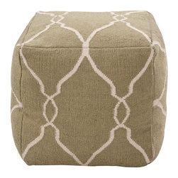18x18 Fallon Khaki Green Pouf - A military-chic olive color patterned with the Bohemian softness of serpentine parchment-hued trails gives an earthy, grounded effect to an overstuffed soft furnishing perfect for floor seating and for sofa napping.  The Fallon Pouf in Khaki Green is that just-right touch of casualness to make a formal interior feel lived-in, yet the textile is rich enough for the most exacting sophisticate with the natural slight variegations of its all-wool weave.