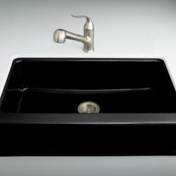 KOHLER - KOHLER K-6546-4U-7 Dickinson Apron-Front, Undercounter Kitchen Sink with Four-Ho - KOHLER K-6546-4U-7 Dickinson Apron-Front, Undercounter Kitchen Sink with Four-Hole Oversized Centers in BlackBring distinctive KOHLER styling to a standard sink space with the Dickinson apron-front kitchen sink. Constructed of durable KOHLER(R) Cast Iron, this undercounter model offers a large basin and features a four-hole oversized faucet drilling.Please see our Delivery Notes for Freight Shipments for products that are oversized and/or are too heavy to ship UPS ground. KOHLER K-6546-4U-7 Dickinson Apron-Front, Undercounter Kitchen Sink with Four-Hole Oversized Centers in Black, Features:• A single basin, apron-front sink that fills the space of a standard sink