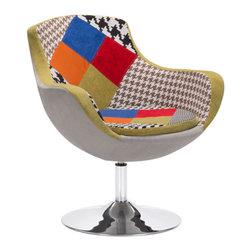 Zuo Modern - Zuo Modern Walloon Occasional Chair in Patchwork Multicolor - Zuo Modern Walloon Occasional Chair in Patchwork Multicolor