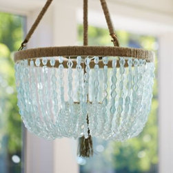 Serena & Lily - Seychelles Chandelier - Cut seaglass beads form a dramatic canopy beneath a hemp-wrapped steel frame. A natural beauty created just for Serena & Lily. Because each is made to order, please allow 2-4 weeks for delivery.