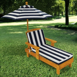 KidKraft Outdoor Chaise with Umbrella and Navy Stripe Fabric - About KidKraftKidKraft is a leading creator, manufacturer, and distributor of children's furniture, toy, gift and room accessory items. KidKraft's headquarters in Dallas, Texas, serves as the nerve center for the company's design, operations and distribution networks. With the company mission emphasizing quality, design, dependability and competitive pricing, KidKraft has consistently experienced double-digit growth. It's a name parents can trust for high-quality, safe, innovative children's toys and furniture.