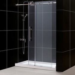 DreamLine - DreamLine Enigma-X Frameless Sliding Shower Door and 32x60-inch Shower Base - Bring a tired old shower into modern times with this clear sliding shower door. This contemporary shower door is made from tempered glass and comes with a coordinating SlimLine shower base that is crafted from stainless steel for added beauty.