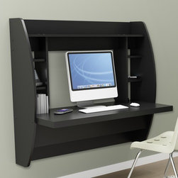 Prepac - Floating Desk with Storage - Optimize your space with Prepac's innovative and stylish wall mounted desk.  Perfectly suited for any home office, den, living room, kitchen or entryway.  This stable work surface is perfect for your computer or simply use it as a place to get your work done.  The side compartments and top shelf provide functional storage and visual appeal. Installation is a breeze with Prepac's innovative metal hanging rail system. Proudly manufactured in North America using CARB-compliant, laminated composite wood.  Ships Ready to Assemble, includes an instruction booklet for easy assembly and has a 5-year manufacturer's limited warranty. Features: -Mount at any height with Prepac's metal hanging rail system.-Hidden Cable & Wire Management.-Proudly manufactured in North America.-100 lbs overall capacity.-Constructed from CARB-compliant, laminated composite woods.-Distressed: No.-Country of Manufacture: Canada.Dimensions: -Dimensions: 39.5'' Height x 42.25'' Width x 19.75'' Depth.-Overall Product Weight: 61 lbs.
