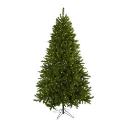Nearly Natural - 90 in. Windermere Christmas Tree - Includes five hundred and fifty clear lights. Classic holiday look. Metal base. Classic look. Trunk type: Artificial-non-bendable. Number of leaves: One thousand eighty five tips. Made from silk. Green color. Base: 21 in. W x 21 in. D x 6.5 in. H. Overall: 55 in. Dia. x 90 in. HThis tree will light your holiday spirit for years to come.