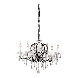 Zuo - Gypsum Black and Crystal Chandelier - The chic Gypsum Black and Crystal Chandelier is the perfect balance of style and grace.  The traditional design of the arms lends itself to showcase each and every glass crystal that delicately dangles from the Gypsum chandelier.  Let the black and crystal chandelier be the center of attention in your space.  This dramatic piece will add a touch of romance to your space.  Add a dimmer switch at installation and you will achieve the perfect level of lighting in your living room, dining room or bedroom.