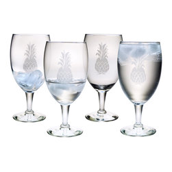 Susquehanna Glass - Pineapple Footed Goblet, 16oz, S/4 - Each 16 ounce goblet is sand etched with a pineapple design. It is applied to each glass through a combination of sand etching and hand cutting, making each piece a true original. Dishwasher safe. Sold as a set of four. Made and decorated in the USA.
