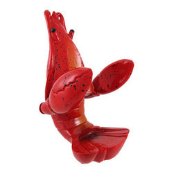 Hand Painted Lobster Wine Bottle Holder Kitchen Decor - This incredibly cute red lobster bottle holder figurine is great for holding wine bottles, liquor bottles, or for holding olive oil as part of your kitchen decor. Made of cold cast resin, the lobster stands 7 1/4 inches tall, is 4 1/2 inches wide, and 5 inches deep. It makes a great gift for any shellfish lover. Sorry, the wine bottle in the pictures is not included.