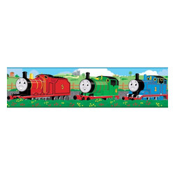 """RoomMates - Thomas & Friends Peel & Stick Border - RMK1034BCS - Shop for Wall Decorations from Hayneedle.com! This Thomas and Friends wall border creates a vibrant addition to any child's bedroom or playroom with the added advantage of being completely removable without the need for solvents paint or clean up. A separately sold collection of matching removable stickers allows you to let the children in on the fun in designing a matching creative and original scene right on their walls and furniture. When it's time to change the decoration or simply rearrange things the stickers peel right off and can be reapplied as good as new. No sticky residue is left over on the surface. All aboard!These stickers will work on just about any surface but take care with wallpaper or some delicate surfaces. If in doubt test in an inconspicuous place prior to applying all the stickers. Also wait 10 to 15 days after painting before using stickers. Though the paint feels dry it needs adequate time to """"cure."""" As with any adhesive product these will work much better on clean surfaces free of dust and the like. Specifically they will work well on surfaces including but not limited to walls mirrors your fridge laptop covers tile glass lockers furniture and automotive surfaces.Please note this product does not ship to Pennsylvania."""