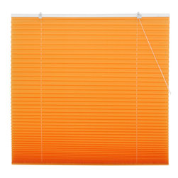 Oriental Furniture - Tangerine Pleated Shades - (72 in. x 72 in.) - Bright and bold tangerine window treatment, inexpensive and easy to install. No need to cut to size, practical modern design retractable blinds with a pleated polyester fabric shade installs right on the window frame, hardware included. Fits all windows up to six feet tall.