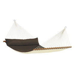 Home Decorators Collection - Alabama Double Hammock with Bar - Our padded Alabama Double Hammock with Bar features an integrated pillow, perfect for stretching out and relaxing in blissful comfort. Hang this weather-resistant hammock between two trees or from a hammock stand. Polypropylene in your choice of color. Integrated pillow and padded surface. Fits our Scandinavian Spruce Double Hammock Stand, sold separately. Can also be hung with our Hammock Hardware Kit, sold separately.