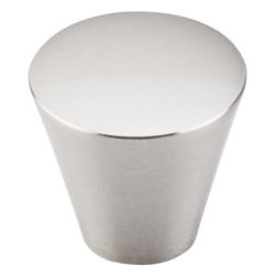 """Top Knobs - Cone Knob 1 1/16"""" - Brushed Satin Nickel - Width - 1 1/16"""", Projection - 15/16"""", Base Diameter - 5/8"""""""