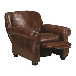 Chelsea Home Furniture - Chelsea Home San Angelo Push Back Recliner in Bolero Cohiba - Push Back Recliner in Bolero Cohiba belongs to San Angelo Collection by Chelsea Home Furniture This traditional style blends well with any home decor and is designed for lasting comfort and beauty. Individually nailed brass finished nails accent the harp shaped roll armed chairs. Tapered all wood legs and throw pillows complete the piece's legacy of traditional style. Recliner (1)