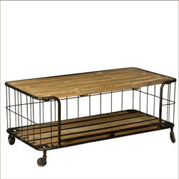 Wire Basket Reclaimed Wood & Iron Rolling Coffee Table Cart -
