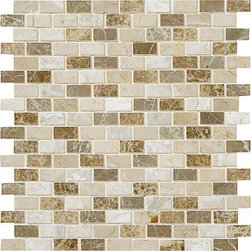 marblesystems - Milano Blend Polished Mosaic Staggered Joint - Natural mosaic tile that can be used on floors and walls. Made in Turkey.