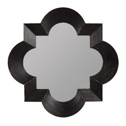 Cooper Classics - Kristen 47 in. Mirror - Made from veneer over wood. Black finish with brown undertones. Interior: 35.5 in. W x 35.5 in. H. Overall: 47 in. W x 47 in. H
