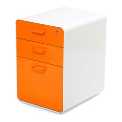 Poppin - West 18th File Cabinet, White/Orange - So good-looking, you will want to take it home.
