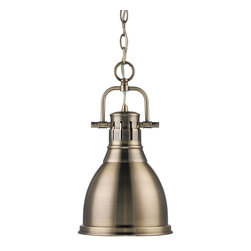Golden Lighting - Golden Lighting 3602-S AB-AB Duncan Transitional Mini Pendant Light - Golden Lighting 3602-S AB-AB Duncan Transitional Mini Pendant Light