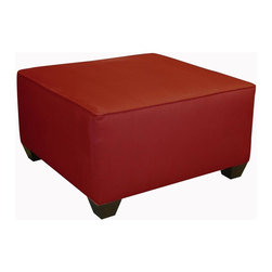 Skyline Furniture - Square Upholstered Cocktail Ottoman - Wooden feet. Micro-suede fabric. Polyurethane foam fill. 100% polyester upholstery. Made from premier solid wood. Made in USA. No assembly required. 30 in. W x 30 in. D x 17.5 in. H (29 lbs.)