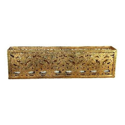 """Dr. Livingstone I Presume - Laser Cut Rectangular Tea Light Holder - Multiple laser cuts through the rectangular iron tea light holder provide outlets for twinkling candlelight. Finished in antique gold makes this easy to blend with all color tones. Add soothing flickers to any windowsill, shelf or tabletop. Try them in multiples at the holidays with glimmering ornaments and pine scattered around them. Includes eight tea lights. (DLIP) 6.5"""" High x 23.25"""" Wide x 6.5"""" Deep"""