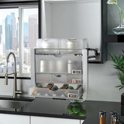 Rev-A-Shelf Chrome Universal Pull Down Shelf - Don't strain yourself reaching for the top-shelf: make the entire cabinet's contents come to you with the Rev-A-Shelf Chrome Universal Pull Down Shelf. This handy unit makes a welcome alteration to most any medicine cabinet, kitchen, pantry, or other in-home storage space. Its pull-down design makes sure everything is within reach, featuring a nitrogen-gas charged spring with a soft-close design. Several frosted acrylic storage bins are provides (with dividers), as well as two matching pull-out drawers with anti-skid liners. Each bin and shelf features a blank label for organization and personalization. Minimum cabinet opening: 22.21 inches.About Rev-A-ShelfRev-A-Shelf, a Jeffersontown, Kentucky-based company has been dedicated to the creation of innovative, useful residential cabinet storage and organization products since 1978. The company manufactures a wide variety of functional products such as lazy susans, kitchen drawer organizers, and childproof locking systems. A global market leader, Rev-A-Shelf is known for its superior quality and versatility.