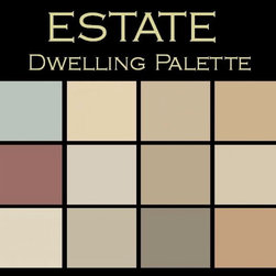 """Benjamin Moore Paint colors - Color in Space Estate Palette™--elegant & refined - Each palette consists of twelve Benjamin Moore® paint colors in 4"""" swatches and no colors are repeated. The intentional selection of the twelve colors ensures that they are energetically balanced and will create the feeling of the dwelling for which it is named."""