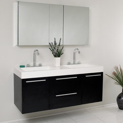 Fresca - Opulento Modern Double Sink Bathroom Vanity w Medicine Cabinet - Widespread Faucet Mount (8 in. ). Soft Closing Drawers and Doors. P-traps, Faucets, Pop-Up Drains and Installation Hardware Included. With overflow. Sink Color: White. Finish: Black. Sink Dimensions: 19.5 in. x12 in. x4.5 in. . Medicine Cabinet: 49 in. W x 26 in. H x 5 in. D. Materials: MDF with Acrylic Countertop/Sinks with Overflow. Vanity: 54 in. W x 18.63 in. D x 23.5 in. HThere is always great design in simplicity. Double the greatness with this double sink vanity with accompanying medicine cabinet. To ease any storage worries, beautiful mirrored medicine cabinet will satisfy immediate storage needs for two. A beautiful widespread chrome faucet is also included. A great ensemble for those with room to spare but not without limitations on measurements. Ideal for anyone looking for a winning combination of style, sleek design, and size that brings it all together to present something dashingly urban.