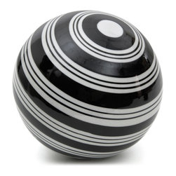 "Oriental Furniture - 6"" Decorative Porcelain Ball - White Stripes - Encircled with black and white stripes of varying widths, this decorative porcelain ball has a stylish modern look perfect for accenting your seasonal decor. Whether you use it as part of a tabletop centerpiece or simply display it on a shelf or mantelpiece, this ceramic will be a handsome addition to your home."