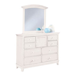 American Drew - American Drew Sterling Pointe Dressing Chest with Mirror in White - Sterling Pointe, from American Drew, is a collection of bedroom furniture with simple lines, but spectacular possibilities. Sterling Pointe is a versatile group that can easily capture any lifestyle and work in any setting. The collection can go from urban chic to country cottage, from transitional to coastal, and all personal styles in between! Sterling Pointe is offered in four popular colors; Black, White, Cherry and Maple. All case pieces come with matching color hardware and polished chrome finish hardware for even more personalization. In addition, the Black and White colored case pieces have the option to customize the tops in either Cherry or Maple colors. When you choose this option, you get hardware in the matching case color, matching top color and polished chrome finish. The three bed styles are offered in multiple sizes to fit any room and setting.This is the perfect collection for that condo or town home, second bedroom or second home. Sterling Pointe has a timeless appeal that can adapt and last a lifetime. Sterling Pointe will capture the essence of your personal style.