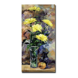 Trademark Art - Colorful Giclee 18 x 24 Canvas Art - Still Li - Gallery Wrapped Giclee on Canvas. Ready to Hang!. Artist: Yelena Lamm. Title: Still Life in Yellow. Style: Traditional. Format: Vertical. Size: Medium. Frame: 18 in. W x 24 in. L x 1.5 in. DStill Life Yelena Lamm was born in Petersburg, Russia. She first began drawing in preschool, where her art teachers discovered that she had a very special talent. After secondary school, Yelena went off to study Fine Art & Restoration at Roerich College in Russia. Here she spent years restoring some of the most famous works of art from Museum Masters. In the early 90's Yelena decided to come to America, later settling in Andy Warhol's home town of Pittsburgh Pennsylvania. Here she attended the highly acclaimed Art Institute of PA. Here she received a Bachelor's Degree of Science in Graphic Design and a President's Award from the Institute. Yelena's career has emerged tremendously, and her art is part of the community. Giclee (jee-clay) is an advanced print making process for creating high quality fine art reproductions. The attainable excellence that Giclee printmaking affords makes the reproduction virtually indistinguishable from the original artwork. The result is wide acceptance of Giclee by galleries, museums, and private collectors.