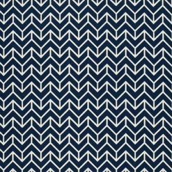 Schumacher - Chevron Print Fabric - Chevron print, a familiar 'v' shaped pattern, when repeated has a houndstooth quality. This 100 percent cotton fabric has a classic vibe while still seeming fresh and innovative. Thie navy pattern will go well with your white wicker or Adirondack chairs and really will go with almost any style you are creating, it is that versatile!