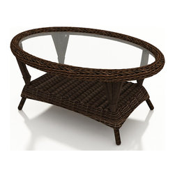 Forever Patio - Leona Outdoor Wicker Coffee Table, Mocha Wicker - The Forever Patio Leona Outdoor Wicker Coffee Table with Glass Top (SKU FP-LEO-CT-MC) complements any of the Leona sofa, sectionals and chairs perfectly, making your patio area more functional and stylish. The mocha-colored wicker is UV-protected, and features two tones that give it a more natural, traditional look. Each strand of this outdoor wicker is made from High-Density Polyethylene (HDPE) and is infused with its rich color and UV-inhibitors that prevent cracking, chipping and fading ordinarily caused by sunlight. This patio wicker coffee table is supported by thick-gauged, powder-coated aluminum frames that make it more durable than natural rattan. This table includes a tempered glass top, adding a touch of elegance.