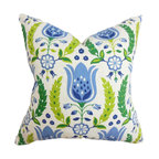 """The Pillow Collection - Eithne Floral Pillow Blue - A lovely mix of florals is featured in this refreshing square pillow. This 18"""" pillow looks great on its own and coordinates well with solids and other patterns. The accent pillow features a bright color palette with shades of blue, green and white. Toss this decor pillow on your sofa, bed or seat for added comfort and visual appeal. Made of 100% durable and plush cotton material. Hidden zipper closure for easy cover removal.  Knife edge finish on all four sides.  Reversible pillow with the same fabric on the back side.  Spot cleaning suggested."""