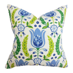 "The Pillow Collection - Eithne Floral Pillow Blue - A lovely mix of florals is featured in this refreshing square pillow. This 18"" pillow looks great on its own and coordinates well with solids and other patterns. The accent pillow features a bright color palette with shades of blue, green and white. Toss this decor pillow on your sofa, bed or seat for added comfort and visual appeal. Made of 100% durable and plush cotton material. Hidden zipper closure for easy cover removal.  Knife edge finish on all four sides.  Reversible pillow with the same fabric on the back side.  Spot cleaning suggested."