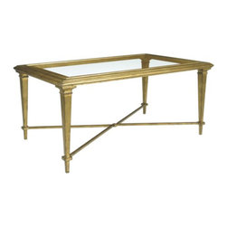 Bristol Coffee Table - The Bristol Cocktail Table features a beveled glass top. It is available in Antique Gold Leaf, Antique Silver Leaf and in a wide variety of painted and hand decorated finishes.