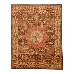 Rug Knots - Chobi Ziegler Pink and Brown - Warm rose, soft beige, rich brown, and soothing camel colors are displayed beautifully in this intricate rug. Simple geometric designs frame elegant floral motifs. A multi-tiered border frames the rug; an extra stripe of diamond-shaped patterns is added to each vertical end to create a square main space. This rug is made of pure wool, and was crafted by rug artists in Pakistan. Its quality is unquestionable, and its medium pile height puts comfort as a priority. This traditional yet unique rug would look fantastic in a rustic design scheme or help soften the coolness of a minimalist, modern layout.