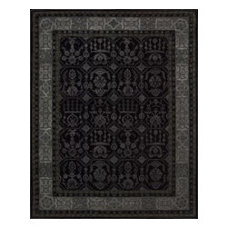 """Nourison - Nourison Regal Black Traditional 8'6"""" x 11'6"""" Rug by RugLots - Traditional design gets a modern update with bold colors and rich designs. Hand carved for an elegant and highly textural look and feel, these hand crafted area rugs from the Regal Collection by Nourison are interwoven with generous portions of silk for an even more sumptuous feel. This collection stands apart and sets a new standard for design and construction. Add one to any room in your home for instant elegance. 100% New Zealand wool with silk."""