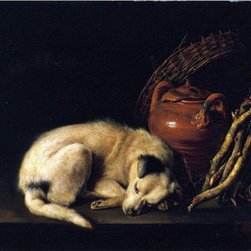 """Gerrit Dou A Sleeping Dog Beside a Terracotta Jug Print - 18"""" x 24"""" Gerrit Dou A Sleeping Dog Beside a Terracotta Jug, a Basket, and a Pile of Kindling Wood premium archival print reproduced to meet museum quality standards. Our museum quality archival prints are produced using high-precision print technology for a more accurate reproduction printed on high quality, heavyweight matte presentation paper with fade-resistant, archival inks. Our progressive business model allows us to offer works of art to you at the best wholesale pricing, significantly less than art gallery prices, affordable to all. This line of artwork is produced with extra white border space (if you choose to have it framed, for your framer to work with to frame properly or utilize a larger mat and/or frame).  We present a comprehensive collection of exceptional art reproductions byGerrit Dou."""