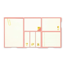 Kate Spade - kate spade Sticky Note Set - Gold, 7-Piece Set - Welcome the new fashion forward office supplies that include the kate spade new york Sticky Note Set and leave behind those boring sticky notes. Each sticky note in this 7 pad set has gold foil accents.