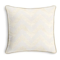 Gold Metallic & Ivory Chevron Custom Throw Pillow - Black and white photos, Louis XIV chairs, crown molding: classic is always classy. So it is with this long-time decorator's favorite: the Corded Throw Pillow. We love it in this pale gold metallic chevron on white linen that adds subtle shimmer to any space.