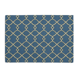 Blue Classic Trellis Custom Placemat Set - Is your table looking sad and lonely? Give it a boost with at set of Simple Placemats. Customizable in hundreds of fabrics, you're sure to find the perfect set for daily dining or that fancy shindig. We love it in this small classic cream trellis on flooded royal blue cotton sateen.