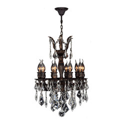 "Worldwide Lighting - Versailles 10 Light Flemish Brass Finish and Crystal Chandelier 17"" D x 24"" H - This stunning 10-light Chandelier only uses the best quality material and workmanship ensuring a beautiful heirloom quality piece. Featuring a cast aluminum base in Flemish Brass finish and all over clear crystal embellishments made of finely cut premium grade 30% full lead crystal, this chandelier will give any room sparkle and glamour. Worldwide Lighting Corporation is a privately owned manufacturer of high quality crystal chandeliers, pendants, surface mounts, sconces and custom decorative lighting products for the residential, hospitality and commercial building markets. Our high quality crystals meet all standards of perfection, possessing lead oxide of 30% that is above industry standards and can be seen in prestigious homes, hotels, restaurants, casinos, and churches across the country. Our mission is to enhance your lighting needs with exceptional quality fixtures at a reasonable price."