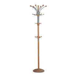Adarn Inc. - Hubert 4 Levels of Metal Frame Hooks Coat Hat Rack Hanger Hall Tree, Oak - Bring this Hubert Coat Rack in Natural / Oak / Espresso / into your hall or entryway for a stylish greeting for guests. Four levels of hook placement enhances the storage capacity of this hall tree for a functional addition to your hallway, entryway or living room. A metal frame is accented cover details in oak for an upscale, warm look that blends seamlessly with existing decor.