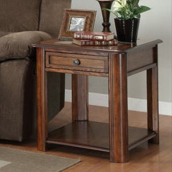 Homelegance - Homelegance McMillen Rectangular 1 Drawer End Table w/ Slate Inlay - Impressive in the transitional or rustic home  the McMillen Collection offers a streamlined look with natural design elements. Slate inlay tops are well complimented by the burnished oak finish. The cocktail table features a lift mechanism allowing you to work or eat in the comfort of your living room. Cocktail table comes with casters for easy movement.