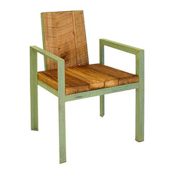 RECLAIMED WOOD OUTDOOR CHAIR - This chair has tons of character and is hand made in Georgia. The reclaimed wood looks great natural with the green painted frame. The design is funky and modern - a lot of fun. It also comes with a matching side table.