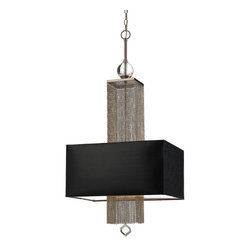 Kathy Kuo Home - Casby Hollywood Regency Modern Chain Rectangular Chandelier - Black - Playing on the contrasts of cascading metal chain and a silk, hardback shade in midnight black, this transitional piece makes a strong statement perfect for a modern space where old world eye candy still makes welcome appearances.  Over a dining table or welcoming visitors at the entrance, a stylish effect is virtually guaranteed.