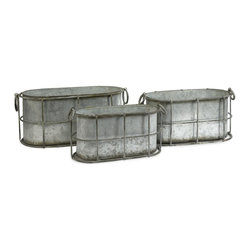IMAX Worldwide Home - Chandler Metal Tubs - Set of 3 - This set of three galvanized tubs feature a cage like design that gives a shabby chic look to any room.. Material: 100% Wrought Iron. 8.25 in. H x 16.5 in. W x 6.75 in. L. 9 in. H x 18 in. W x 8.25 in. L. 9.25 in. H x 20 in. W x 9.5 in. L