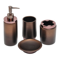 None - Oil Rubbed Bronze Bath Accessory 4-piece Set - Accessorize your bathroom decor with this 4-piece accessory set featuring a rich oil rubbed bronze finish and metallic accent. Made of polyresin,this contemporary set includes a tumbler,soap dish,toothbrush holder and lotion pump.