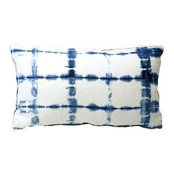 Acapillow - Shibori Indigo Bolster Pillow - Indigo Shibori hand-dyed hemp pillow with linen back and zipper closure.  Care:  Dry-clean only.  Handmade in Santa Monica, California.